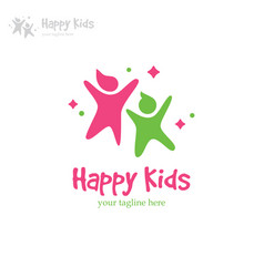 Happy kids logo vector