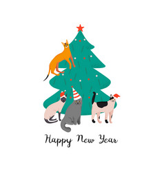 Happy new year holiday poster with funny cats vector