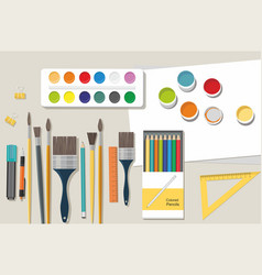 hobby paints brushes pencils back to school vector image