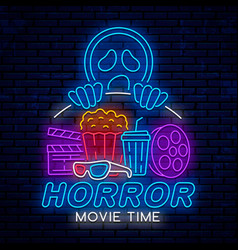 Horror movie time night neon sign vector