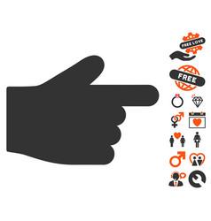 Index finger icon with valentine bonus vector