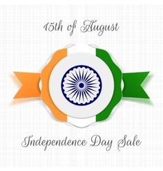 india independence day label with ribbon vector image