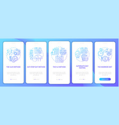 Intermittent fasting methods blue onboarding vector