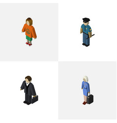 Isometric human set of investor lady hostess and vector