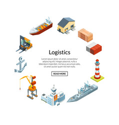 Isometric marine logistics vector