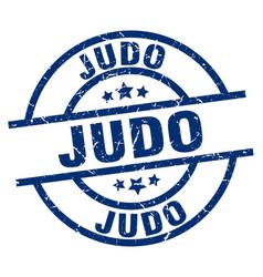 judo blue round grunge stamp vector image