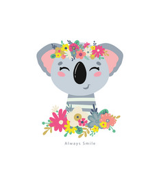 koala with flowers vector image