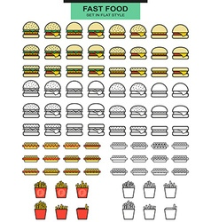Large sets burgers hot dogs and potato fries in vector