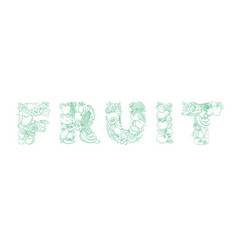 lettering fruit pattern logo groceries farm vector image