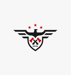 Logo american eagle builder badge style vector