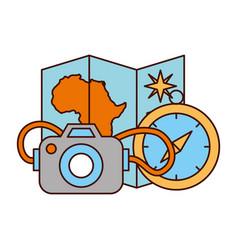 map compass camera safari equipment supplies vector image