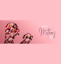 mothers day papercut card of mom with baby vector image
