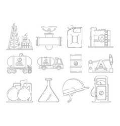 oil line icons linear icon set for petroleum vector image
