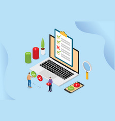 Online survey technology concept with people and vector