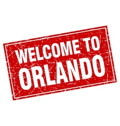 Orlando red square grunge welcome to stamp vector