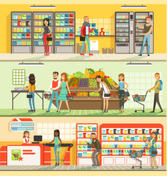 people in supermarket horizontal colorful banners vector image