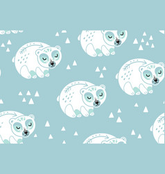 polar bears seamless pattern in white and blue vector image