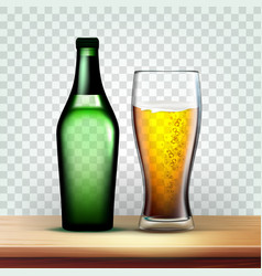 Realistic bottle and goblet with foamy beer vector