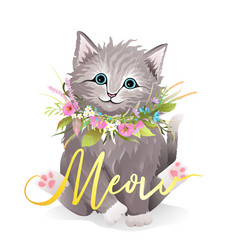 realistic cat or kitten with flowers cute animal vector image