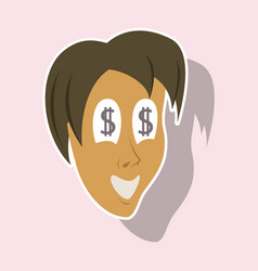 Realistic paper sticker on theme humor money vector