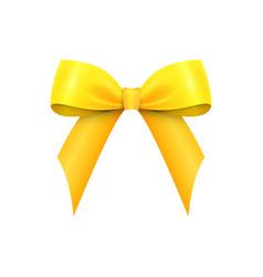 Realistic shiny yellow satin bow isolated vector