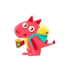 Red dragon with coffee and backpack vector