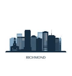 richmond skyline monochrome silhouette vector image