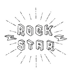 Rock Star badge - original lettering with vector