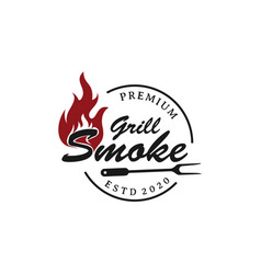 Rustic vintage bbq grill barbecue barbecue label vector