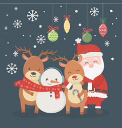 santa deers snowman balls decoration celebration vector image
