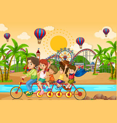 scene background design with family riding bike vector image