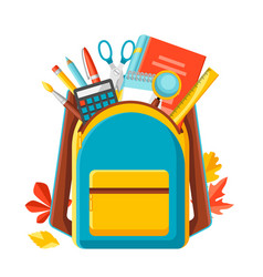 School backpack with education items vector