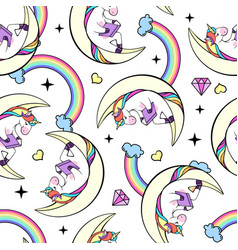 seamless pattern of fantasy unicorn reading book vector image