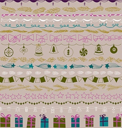 set christmas and decorative elements gifts vector image