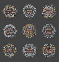 set merry christmas and happy new year vector image