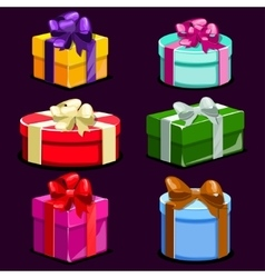 Set of Cartoon colorful gift boxes vector image