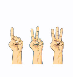 Set of counting one two three hand sign vector