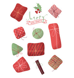 set of various christmas gifts isolated on white vector image