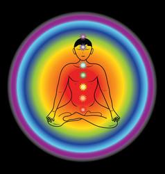 Silhouette a yogi with chakras on a rainbow vector
