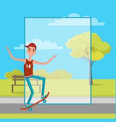 Skateboarder training in green skatepark with tree vector