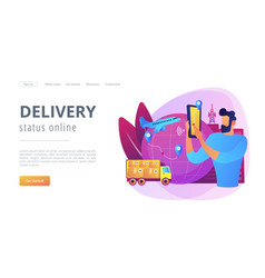 Smart delivery tracking concept landing page vector