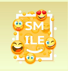Smiley faces design elements vector