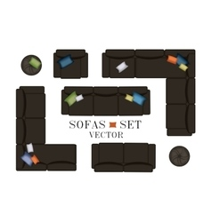 Sofas Armchair Set Furniture Pouf Carpet TV vector image