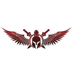 spartan helmet with shield and swords and wings vector image