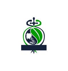 Sword caduceus leaf emblem blank template vector