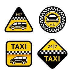 Taxi - set four labels vector image
