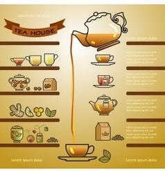 Tea house card of cup leaf lemon vector image