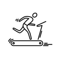Thin line icon treadmill running man cardio vector