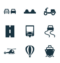 Transport icons set with slippery way cargo ship vector