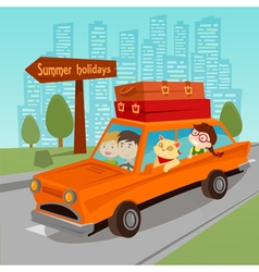 Travel by Car Family Summer Holidays Family in Car vector